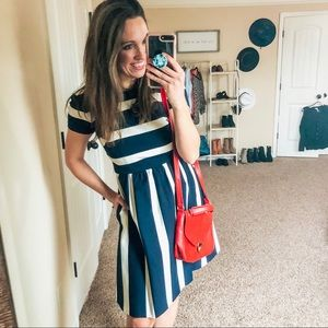 Nordstrom Stripe Fit & Flare Dress with Pockets